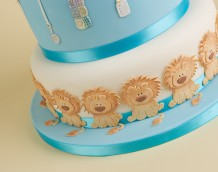 'Boys Birthday / Christening' cake (bottom tier) - using our 'Baby Lion & Nursery Items' set