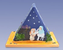 Triangle Nativity Cake - Back (Mary & Joseph)